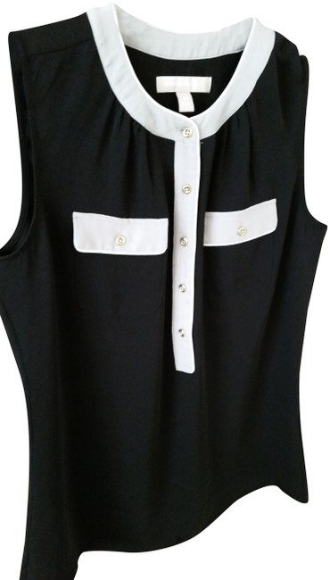 Item - Black Grey White Sleeveless with Button Placket Faux Front Pockets Blouse Size 2 (XS)