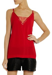 Maje Lace Crepe Camisole Top red