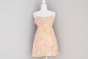 Kirra short dress Yellow, Pink, White, Olive Pacsun Floral Strapless on Tradesy