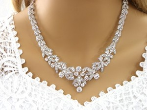 White Crystal Bib Necklace Crystal Collar Necklace For A Bride Bling Angelin Jewelry Set