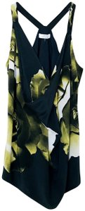 Robert Rodriguez Floral Print Silk Tie Top black, green, white