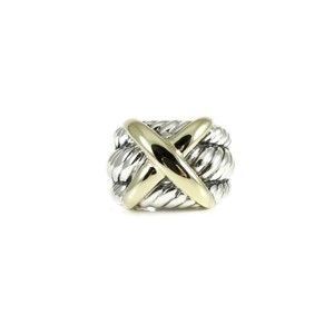 David Yurman David Yurman Sterling Silver 14K Wide X Dome Ring-Size 6.75