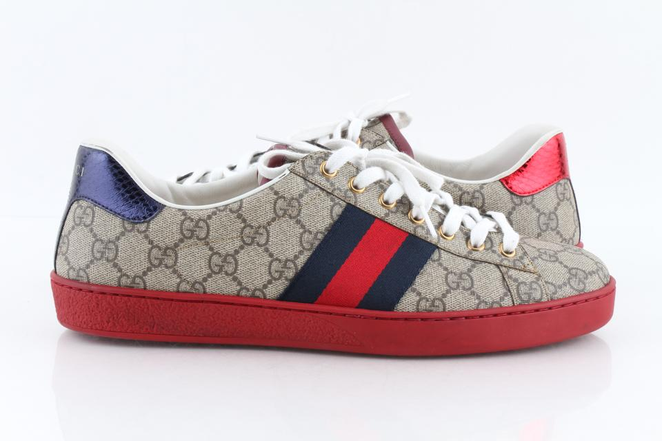 17a28fa27 Gucci Multicolor Monogram New Ace Gg Supreme Low-top Sneakers Shoes Image 0  ...
