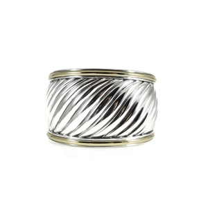 David Yurman David Yurman Sterling Silver 18K Wide Cable Carved Cuff - Small