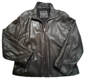 Andrew Marc Lambskin Supple Stand Collar Zip Front Made In Korea black Leather Jacket