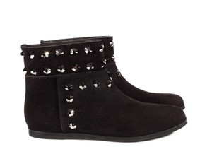 Pedro Garcia Studded Flat Ankle Black Suede Boots