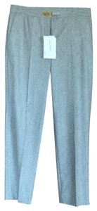 Salvatore Ferragamo New With Tags Logo Embellished Tapered Straight Pants gray