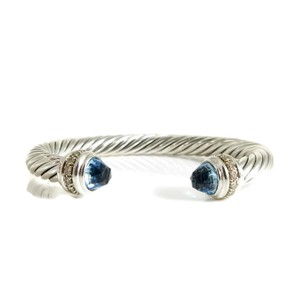 David Yurman David Yurman Sterling Silver .48tcw 7mm Blue Topaz Diamond Bracelet