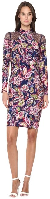 Item - Multi-color Paisley-floral Mock Neck Netted Shoulders Style No. Nd711212 Short Night Out Dress Size 14 (L)