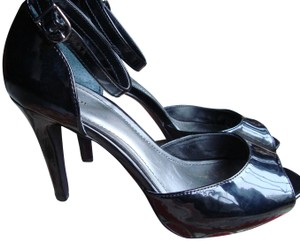 Style & Co Patent Leather Ankle Strap Peep Toe Black Pumps