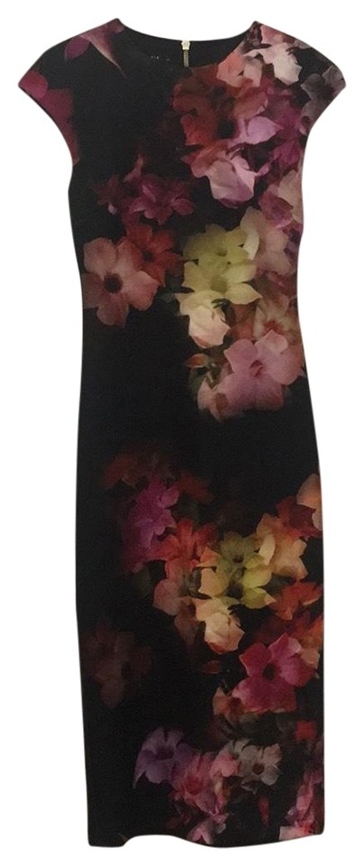 e2f59f845ac90 Ted Baker Black with Multi-color Flowers Cascading Floral Print Midi ...
