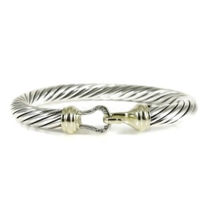 David Yurman David Yurman Sterling Silver 14K .07tcw 7mm Diamond Buckle Bracelet