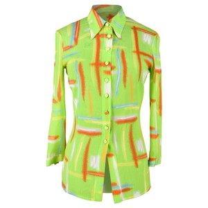 Versace Gianni Vintage Lime Green Button Down Shirt Multi