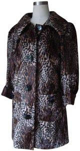 Guess Faux 3/4 Sleeves Animal Print Fur Coat