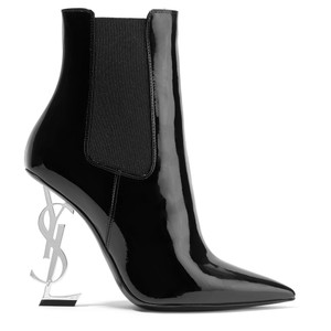 32ca4e12add7 Saint Laurent Black   Silver Opyum 110 Patent Leather Monogram Ysl Logo Heel  Boots Booties