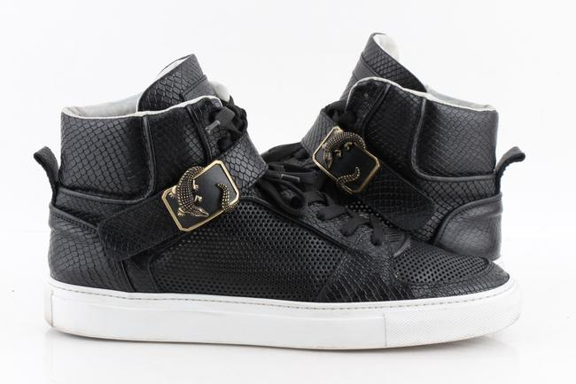 Item - Black Snake-embossed Leather High Top Sneakers Shoes