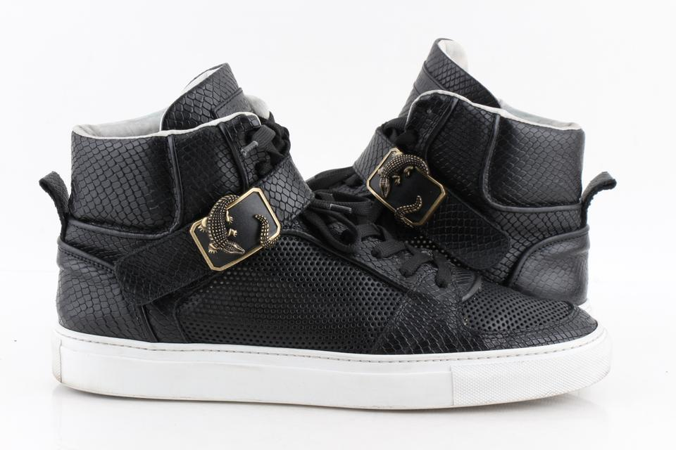0ad4af8b9474 Roberto Cavalli Black Snake-embossed Leather High Top Sneakers Shoes Image  0 ...