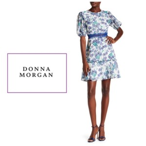 Donna Morgan Short Sleeve Chiffon Fit & Flare Florals Party Dress
