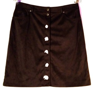 G by Giuliana Comfortable Faux Suede A-line Pockets Skirt Black
