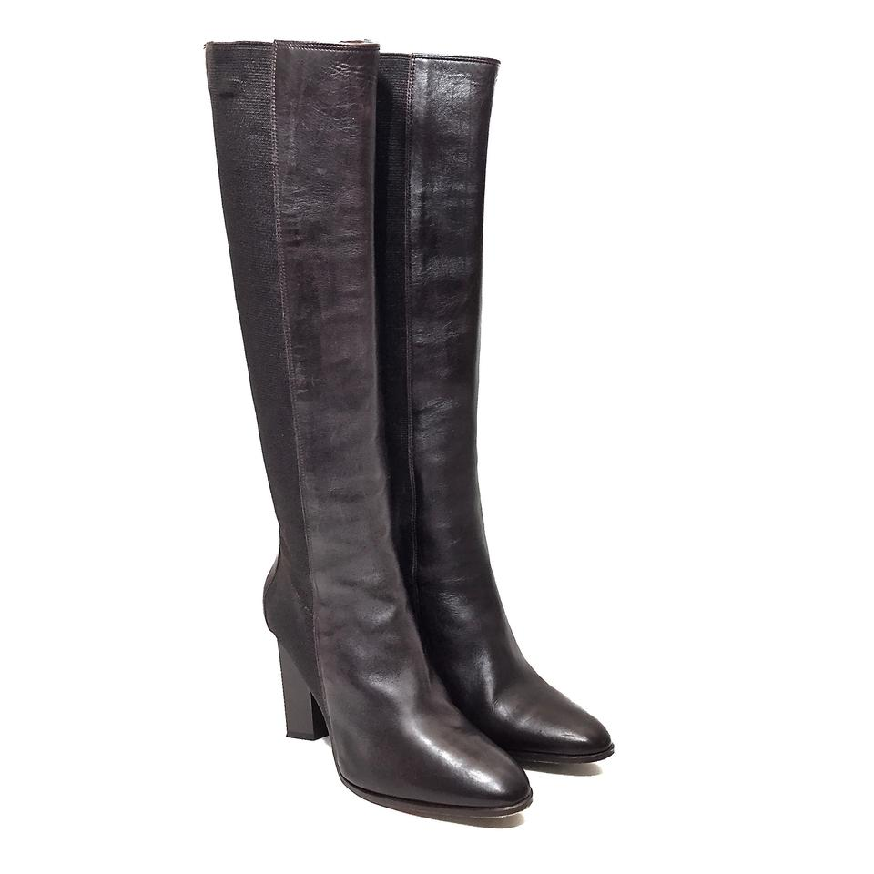 ea8e5101e0bdc Diane von Furstenberg Leather Elastic Patent Leather Knee High Dark Brown  Boots Image 11. 123456789101112