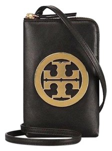 Tory Burch NEW TORY BURCH BLACK LEATHER LOGO PHONE CROSSBODY BAG NWT WALLET