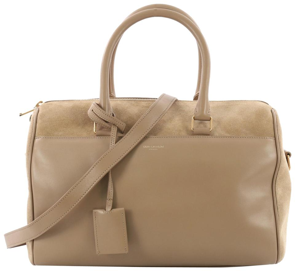 d08fa425a82e Saint Laurent Duffle Classic 12 Beige Leather with Suede Weekend ...