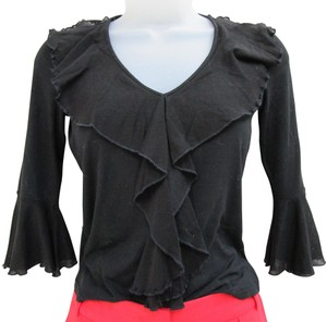 Sinequanone Ruffled Sleeve Made In France Ruffled Bell Sleeved Bell Sleeve Top black