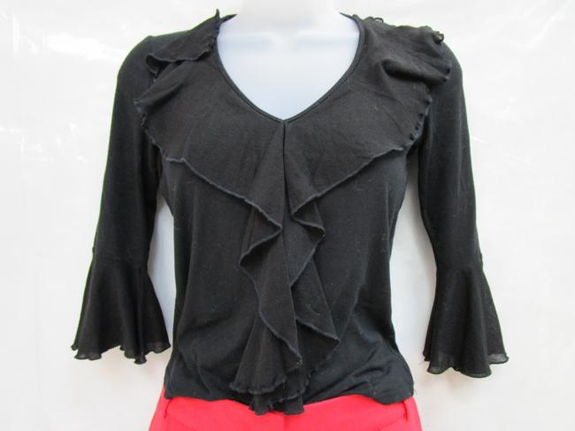 Sinequanone Ruffled Sleeve Made In France Ruffled Bell Sleeved Bell Sleeve Top black Image 1