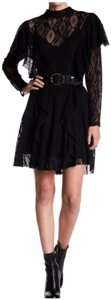 Free People Mock Neckline Full Length Ruffles Allover Lace Fabric Keyhole Flared Skirt Dress