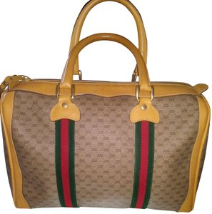 Gucci Clean Never Shedding Excellent Sherry Line Satchel in Tan with RED/Green Stripe