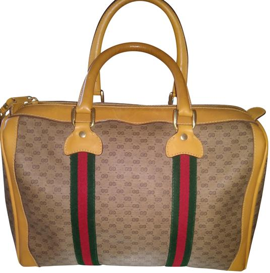 Gucci Clean Never Shedding Excellent Sherry Line Satchel in Tan with RED/Green Stripe Image 2
