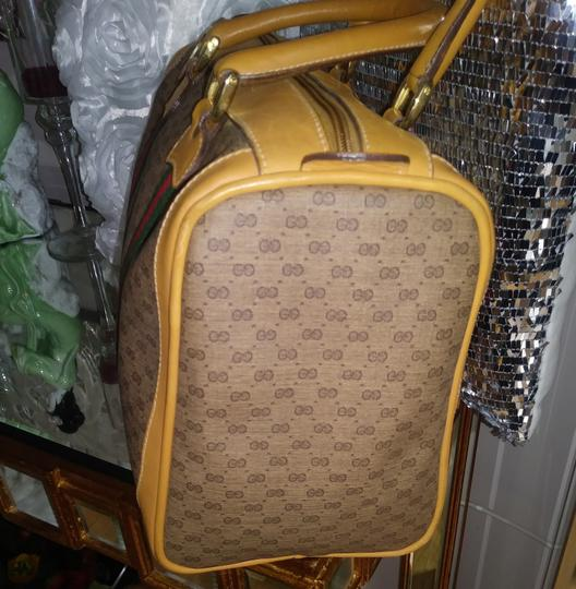 Gucci Clean Never Shedding Excellent Sherry Line Satchel in Tan with RED/Green Stripe Image 3