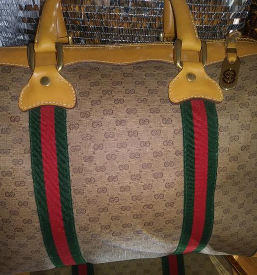 Gucci Clean Never Shedding Excellent Sherry Line Satchel in Tan with RED/Green Stripe Image 4