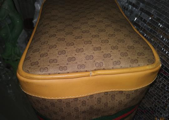 Gucci Clean Never Shedding Excellent Sherry Line Satchel in Tan with RED/Green Stripe Image 6