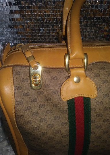 Gucci Clean Never Shedding Excellent Sherry Line Satchel in Tan with RED/Green Stripe Image 7