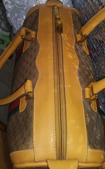 Gucci Clean Never Shedding Excellent Sherry Line Satchel in Tan with RED/Green Stripe Image 8