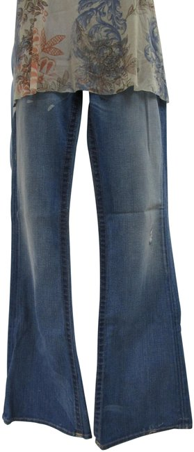 Item - Blue Distressed Funky and Chic Boot Cut Jeans Size 29 (6, M)