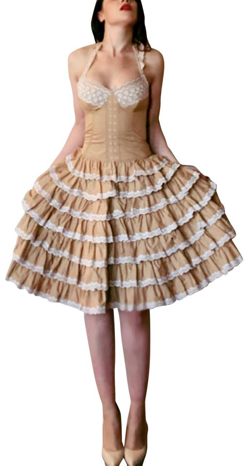 75f115ed5 Betsey Johnson Beige White Cotton Lace Eyelet Bustier Ruffle Party ...