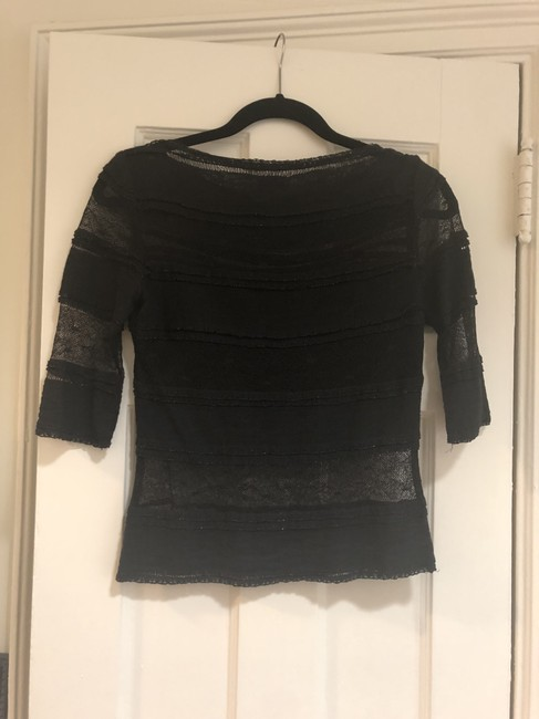 Miguelina Lace Shimmer Top Black Image 1