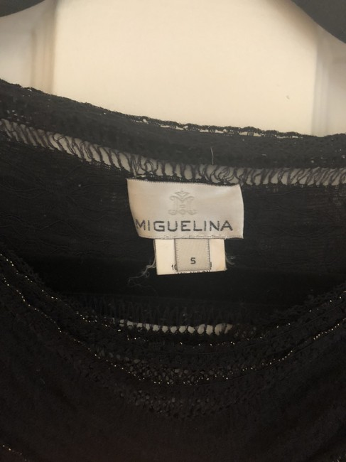 Miguelina Lace Shimmer Top Black Image 2