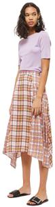 Topshop Plaid Asymmetrical Skirt Pink