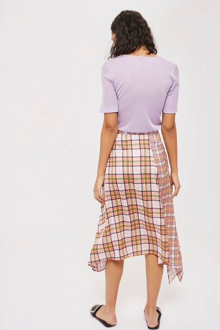 Topshop Plaid Asymmetrical Skirt Pink Image 1