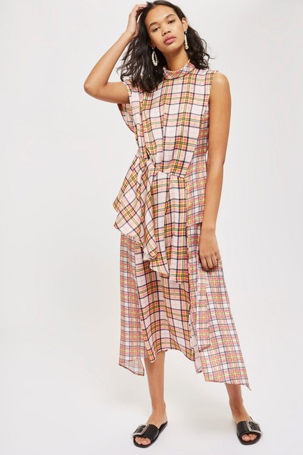 Topshop Plaid Asymmetrical Skirt Pink Image 4
