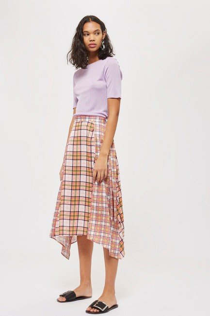 Topshop Plaid Asymmetrical Skirt Pink Image 5
