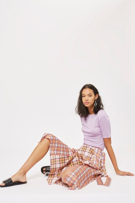 Topshop Plaid Asymmetrical Skirt Pink Image 7