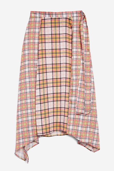 Topshop Plaid Asymmetrical Skirt Pink Image 8