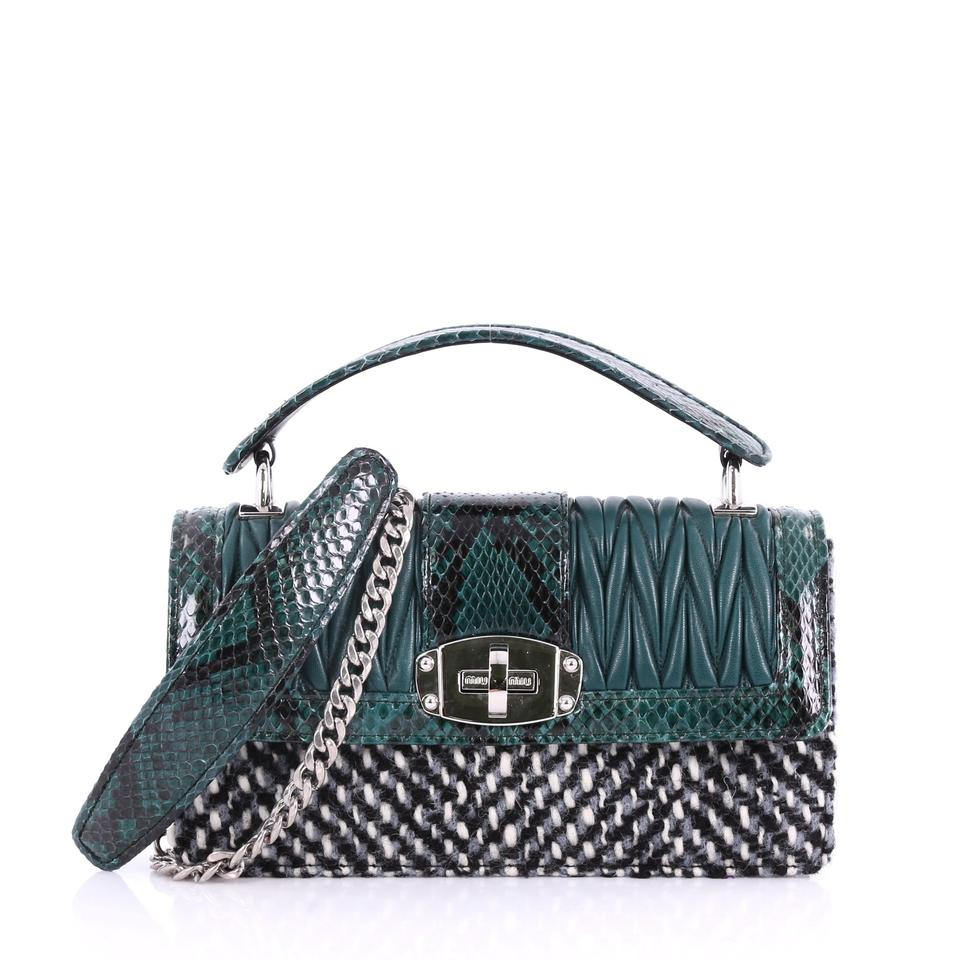 Miu Miu Cleo Top Handle Matelasse Leather with Woven Sn Green Python ... c7e0424411898