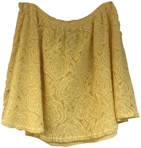 PJK Patterson J. Kincaid Yellow Lace Summer Flouncy Mini Skirt