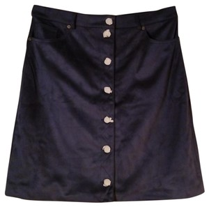 G by Giuliana Suede A-line Comfortable Skirt Navy Blue