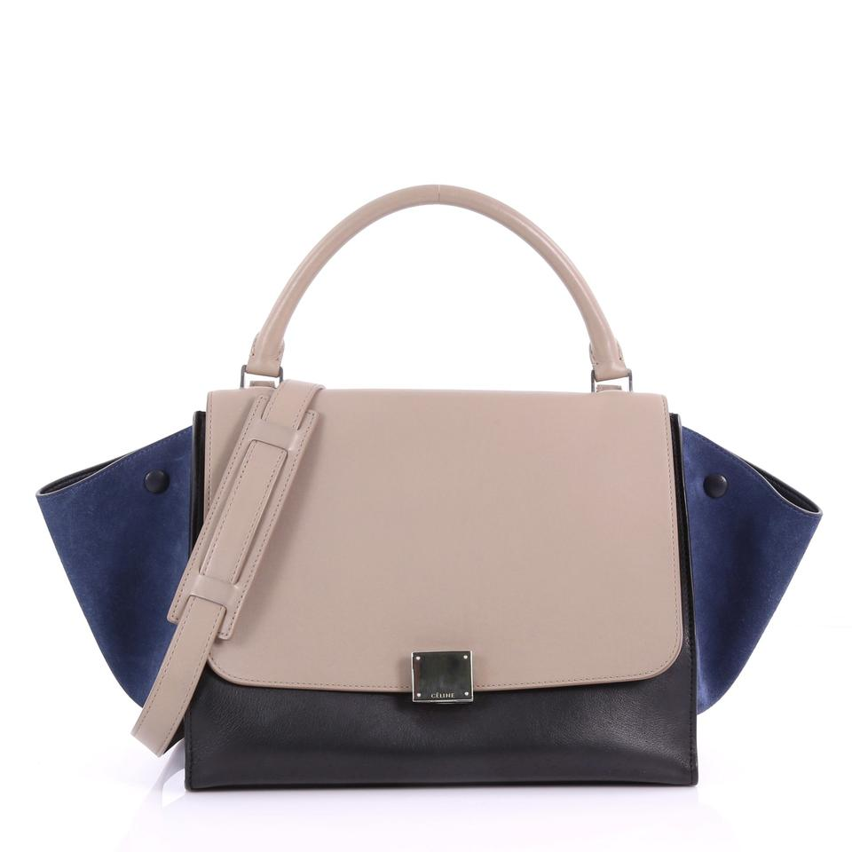 10bf59371e6 Céline Trapeze Tricolor Handbag Small Taupe and Black and Blue ...